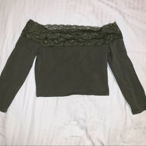 olive green lace off the shoulder top